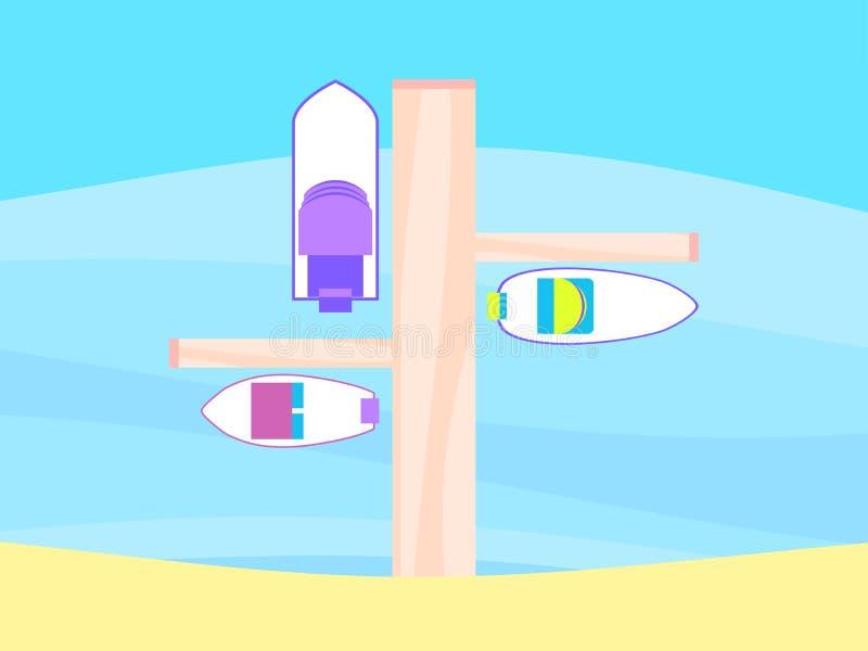 Τοπ άποψη βαρκών αποβαθρών Αμμώδης παραλία Διάνυσμα θερινού υπολοίπου απεικόνιση αποθεμάτων