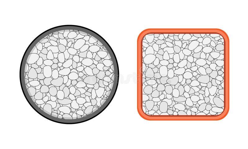 Τοπ άποψη, δοχείο εγκαταστάσεων με την άσπρη μικρή πέτρα, διάνυσμα διανυσματική απεικόνιση
