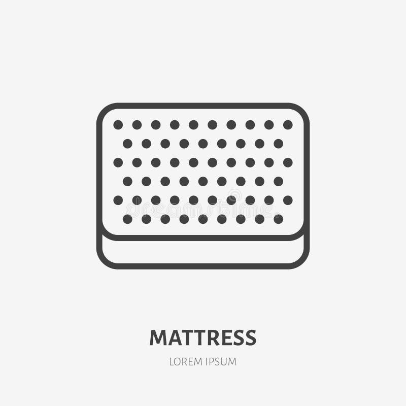 Τοπ άποψη εικονιδίων γραμμών στρωμάτων επίπεδη Τοποθετώντας στο κρεβάτι σημάδι Λεπτό γραμμικό λογότυπο για το εσωτερικό κατάστημα ελεύθερη απεικόνιση δικαιώματος