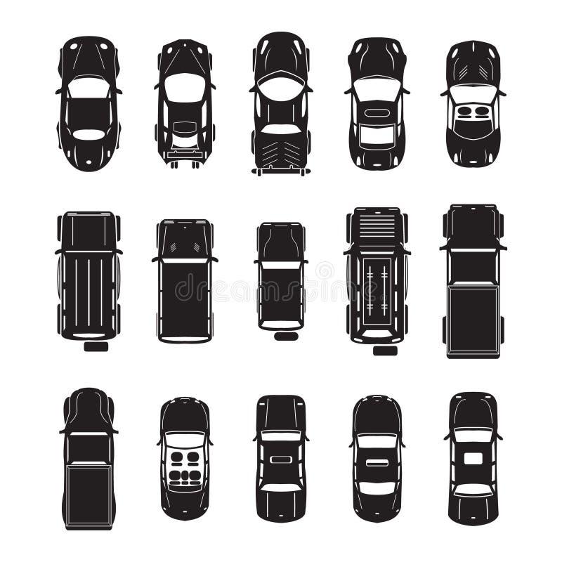Τοπ άποψη εικονιδίων αυτοκινήτων απεικόνιση αποθεμάτων