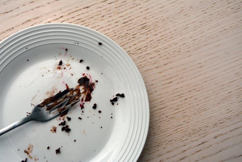 Τοπ άποψη ενός κενού πιάτου με το δίκρανο σε το στοκ φωτογραφία
