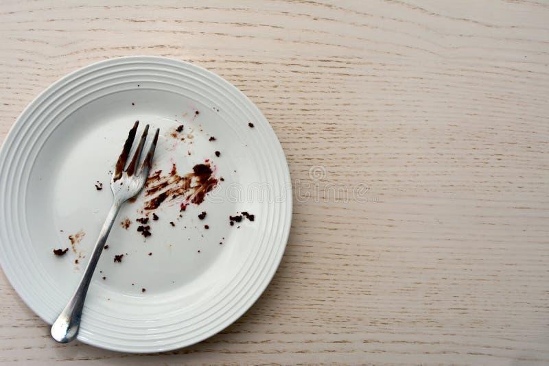 Τοπ άποψη ενός κενού πιάτου με το δίκρανο σε το στοκ εικόνες