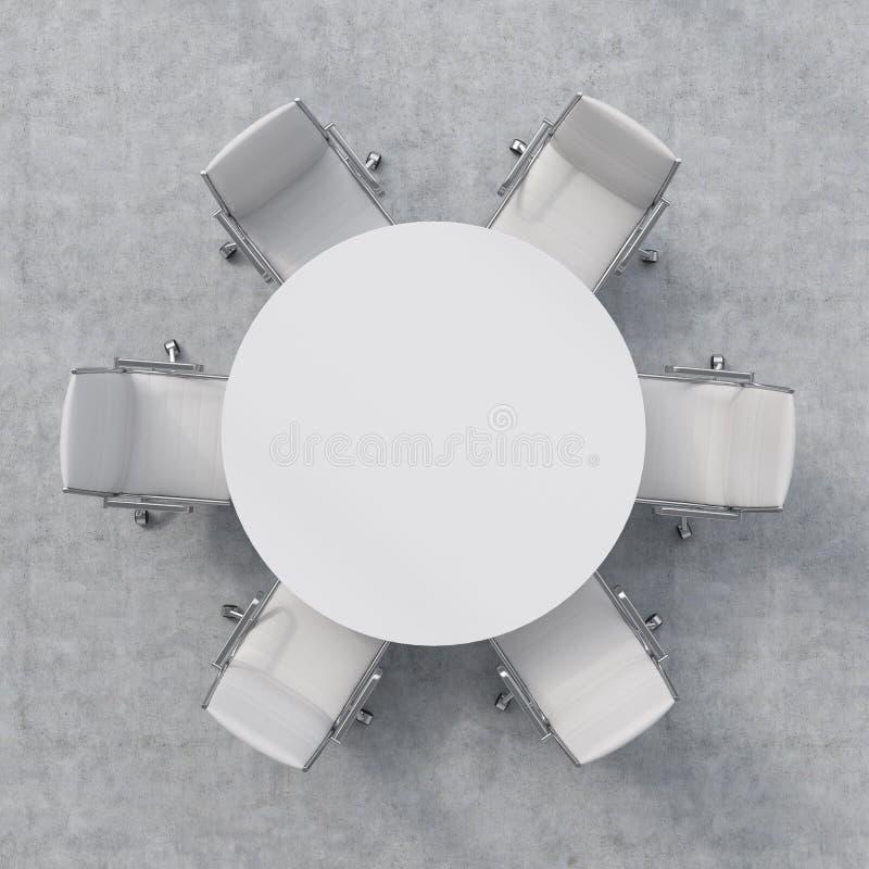 Τοπ άποψη μιας αίθουσας συνδιαλέξεων Άσπρη διάσκεψη στρογγυλής τραπέζης και έξι καρέκλες γύρω τρισδιάστατο εσωτερικό ελεύθερη απεικόνιση δικαιώματος