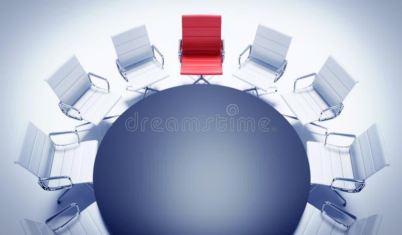 Τοπ άποψη μιας διάσκεψης στρογγυλής τραπέζης με τις καρέκλες διανυσματική απεικόνιση