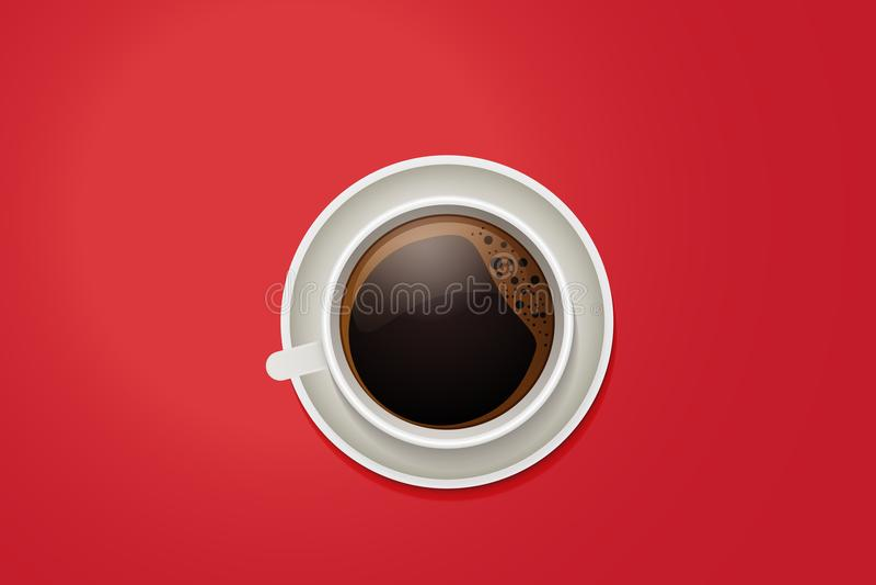 Τοπ άποψη μιας κούπας καφέ Διανυσματικό φλιτζάνι του καφέ σε ένα ζωηρό κόκκινο υπόβαθρο υπολογιστών γραφείου ελεύθερη απεικόνιση δικαιώματος