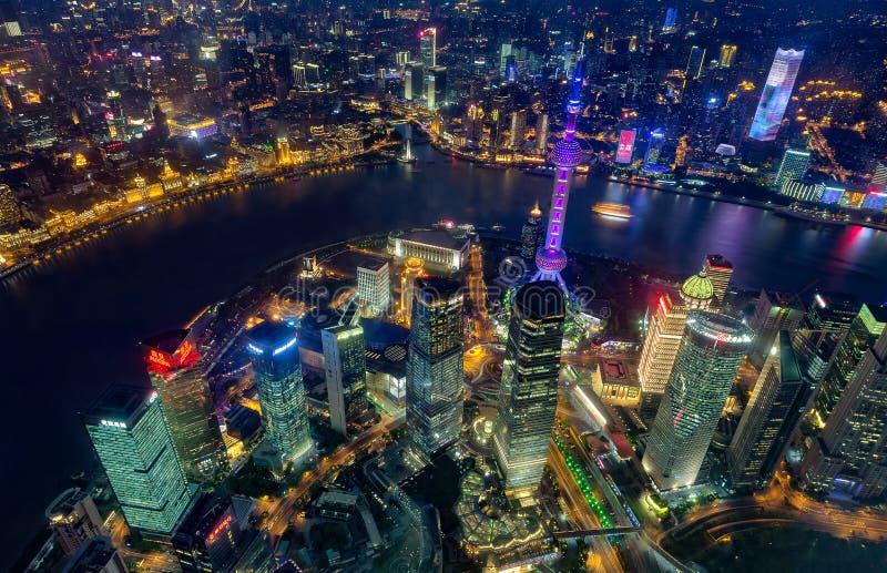 Τοπ άποψη νύχτας του ορίζοντα της Σαγκάη, Κίνα στοκ εικόνα με δικαίωμα ελεύθερης χρήσης