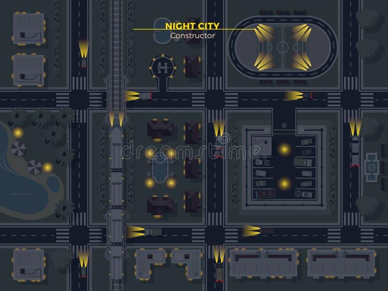 Τοπ άποψη πόλεων νύχτας ελεύθερη απεικόνιση δικαιώματος