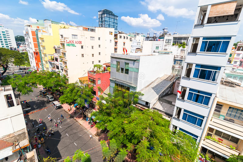 Τοπ άποψη στεγών της πόλης Χο Τσι Μινχ (Saigon) Βιετνάμ στοκ εικόνες