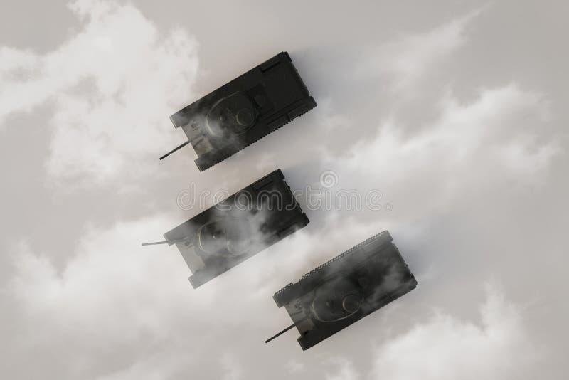 Τοπ άποψη σχετικά με την ομάδα βαριών στρατιωτικών δεξαμενών που κινούνται στο ομιχλώδες τοπίο r διανυσματική απεικόνιση