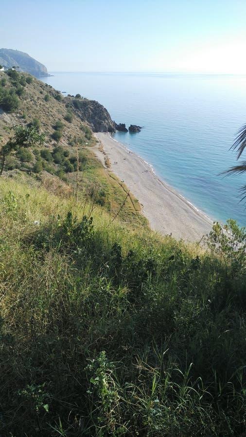 Τοπ άποψη της ακτής Maro (MÃ ¡ laga, Ισπανία) στοκ φωτογραφία με δικαίωμα ελεύθερης χρήσης