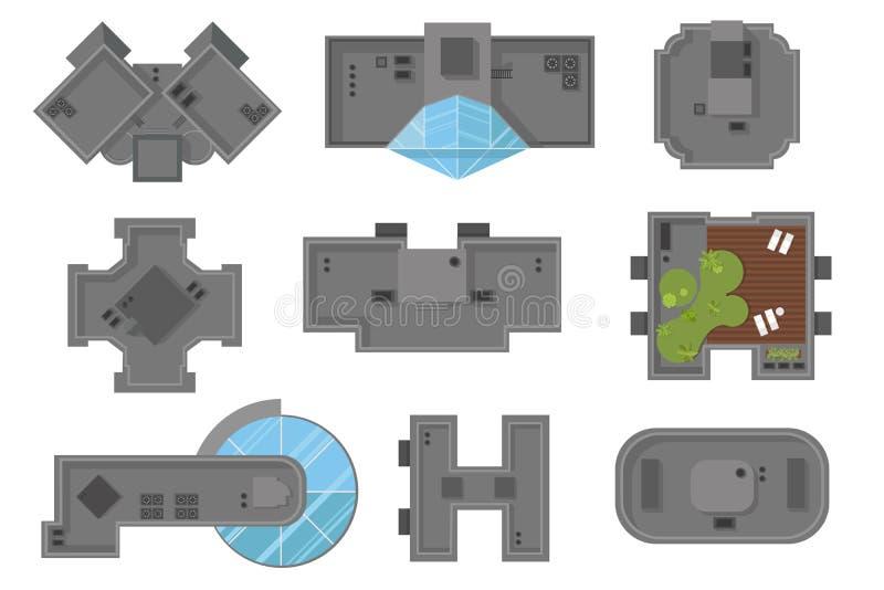 Τοπ άποψη της απεικόνισης πολυκατοικιών και ουρανοξυστών στεγών σπιτιών, διανυσματικό σύνολο Μια συλλογή των αρχιτεκτονικών στοιχ ελεύθερη απεικόνιση δικαιώματος