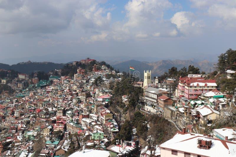 Τοπ άποψη της πόλης Shimal ένας καλός σταθμός λόφων από Jakho Tample στοκ εικόνα με δικαίωμα ελεύθερης χρήσης