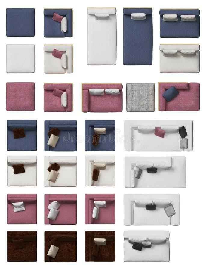Τοπ άποψη της συλλογής καναπέδων με τα μαξιλάρια στοκ εικόνες