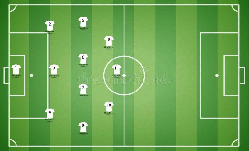 Τοπ άποψη του αγωνιστικού χώρου ποδοσφαίρου με την μπλούζα παικτών ομάδων Το κατασκευασμένο s ελεύθερη απεικόνιση δικαιώματος