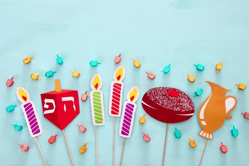 Τοπ άποψη του εβραϊκού υποβάθρου Hanukkah διακοπών στοκ εικόνες με δικαίωμα ελεύθερης χρήσης