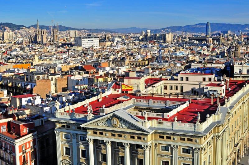 Τοπ άποψη του κέντρου της πόλης της Βαρκελώνης στοκ εικόνες