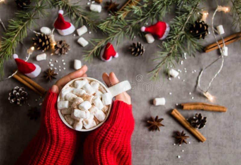 Τοπ άποψη του καυτά φλυτζανιού & marshmallows σοκολάτας στο θηλυκό χέρι που φορά το κόκκινο πουλόβερ, ενάντια στο γκρίζο θέμα υπο στοκ φωτογραφίες με δικαίωμα ελεύθερης χρήσης
