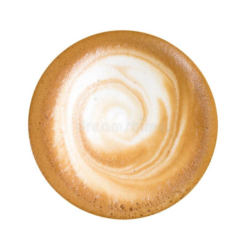 Τοπ άποψη του καυτού cappuccino καφέ που απομονώνεται στο άσπρο υπόβαθρο, στοκ φωτογραφίες με δικαίωμα ελεύθερης χρήσης