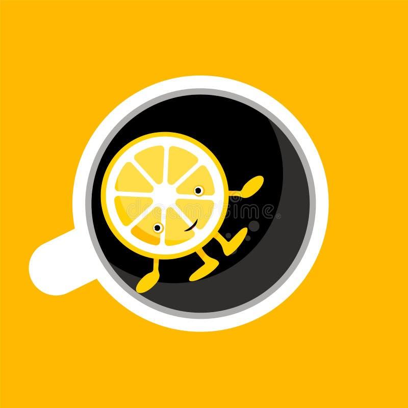 Τοπ άποψη του καφέ, φλυτζάνι τσαγιού, κούπα με το μισό από το χαριτωμένο χαρακτήρα λεμονιών κινούμενων σχεδίων r ελεύθερη απεικόνιση δικαιώματος