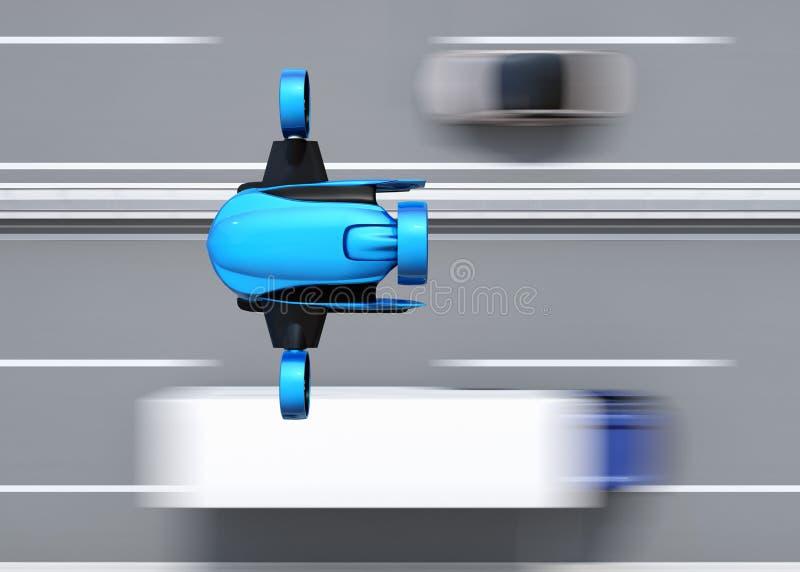 Τοπ άποψη του μπλε VTOL κηφήνα που πετά πέρα από τη γέφυρα εθνικών οδών ελεύθερη απεικόνιση δικαιώματος