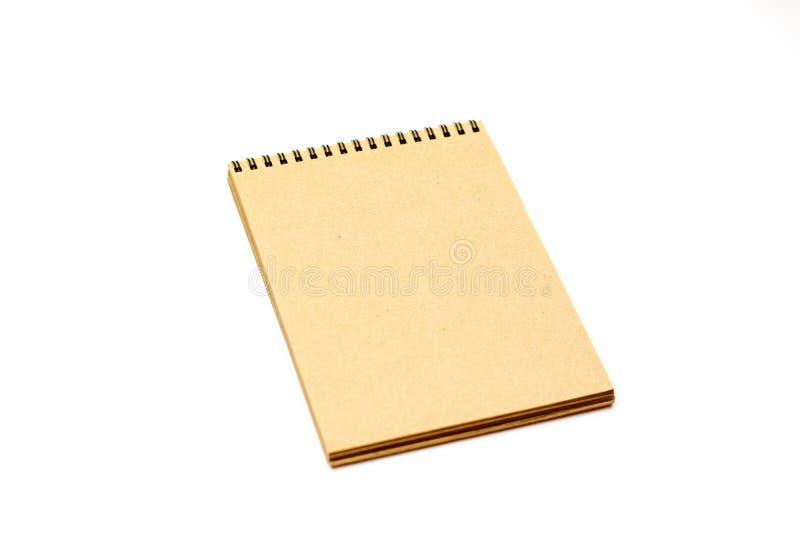 Τοπ άποψη του σημειωματάριου που απομονώνεται στο άσπρο υπόβαθρο για το πρότυπο στοκ φωτογραφίες