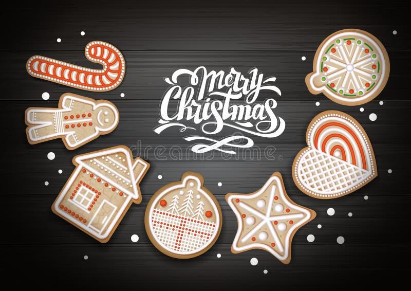 Τοπ άποψη του σχεδίου έννοιας Χαρούμενα Χριστούγεννας Μπισκότα διακοπών στο ξύλινο υπόβαθρο διανυσματική απεικόνιση