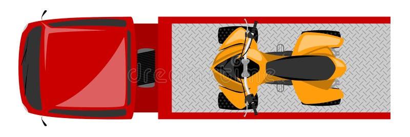 Τοπ άποψη του φορτηγού ρυμούλκησης με την έγχρωμη εικονογράφηση ποδηλάτων τετραγώνων ελεύθερη απεικόνιση δικαιώματος