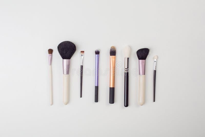 Τοπ άποψη των βουρτσών γυναικών ` s makeup στοκ εικόνες