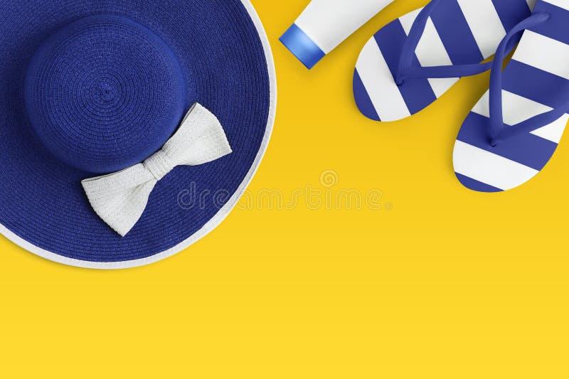 Τοπ άποψη των μπλε εξαρτημάτων θερινών παραλιών που απομονώνεται στις κίτρινες διακοπές διακοπών θάλασσας υποβάθρου και την έννοι στοκ εικόνες με δικαίωμα ελεύθερης χρήσης