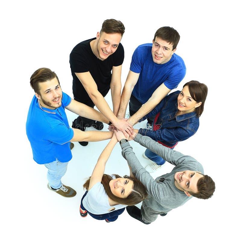 Τοπ άποψη των νέων με τα χέρια τους στοκ εικόνες