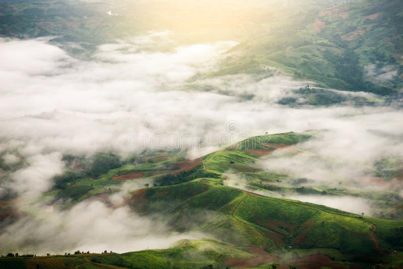 Τοπ άποψη των πράσινων βουνών με τα σύννεφα σε βροχερό στοκ εικόνες