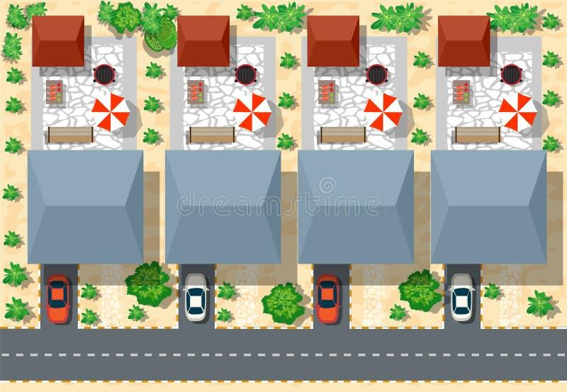 Τοπ άποψη των σπιτιών απεικόνιση αποθεμάτων