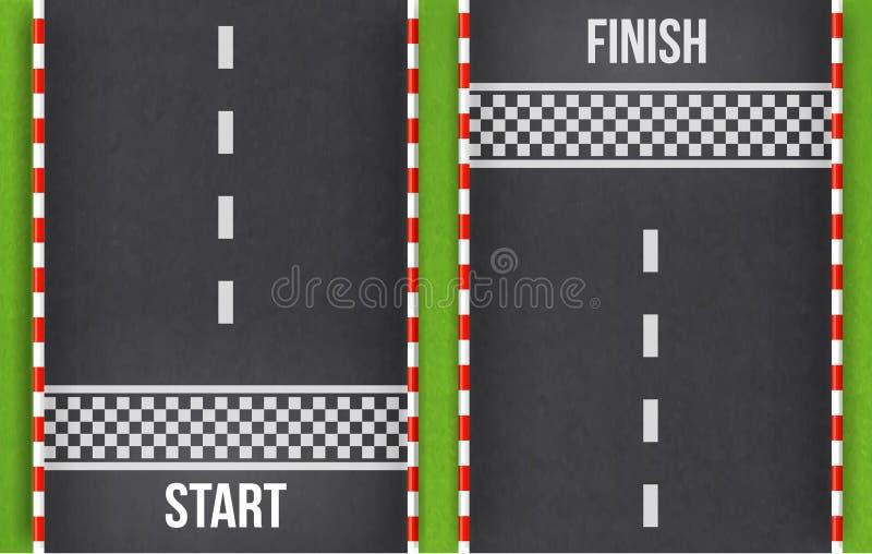 Τοπ άποψη υποβάθρου αγώνα γραμμών τερματισμού Η έναρξη και τελειώνει στη φυλή kart Αφηρημένος δρόμος Grunge κατασκευασμένο στο δρ ελεύθερη απεικόνιση δικαιώματος