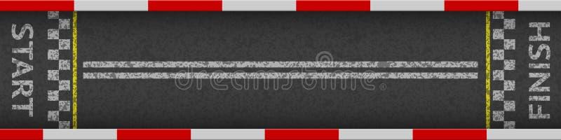Τοπ άποψη υποβάθρου αγώνα γραμμών τερματισμού Σχέδιο τέχνης Η έναρξη ή τελειώνει στη φυλή kart Grunge κατασκευασμένο στο δρόμο ασ απεικόνιση αποθεμάτων