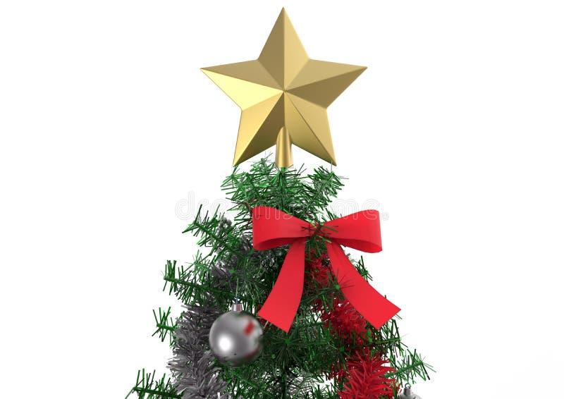 Τοπ αστέρι χριστουγεννιάτικων δέντρων με τις διακοσμήσεις ελεύθερη απεικόνιση δικαιώματος