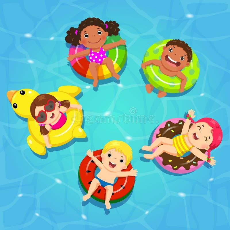 Τοπ διάνυσμα άποψης των παιδιών που επιπλέουν σε διογκώσιμο στη λίμνη απεικόνιση αποθεμάτων