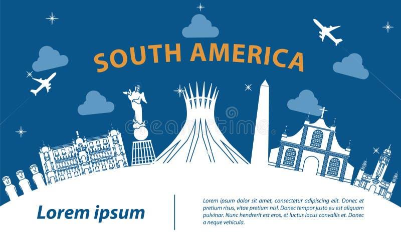 Τοπ διάσημο ύφος σκιαγραφιών ορόσημων της Νότιας Αμερικής στο άσπρο curv ελεύθερη απεικόνιση δικαιώματος