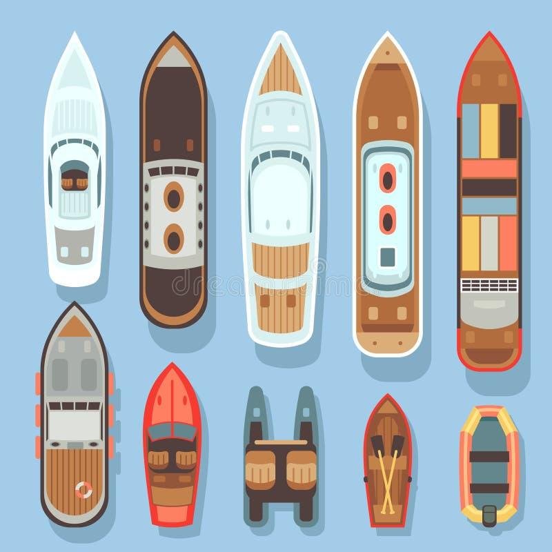 Τοπ εναέρια βάρκα άποψης και ωκεάνιο διανυσματικό σύνολο σκαφών διανυσματική απεικόνιση