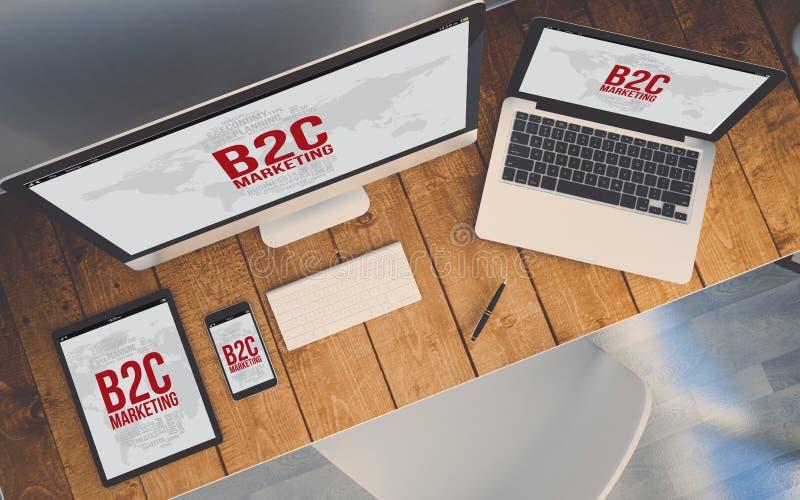 Τοπ εργασιακός χώρος άποψης με τις συσκευές που παρουσιάζουν απαντητικό b2c διανυσματική απεικόνιση