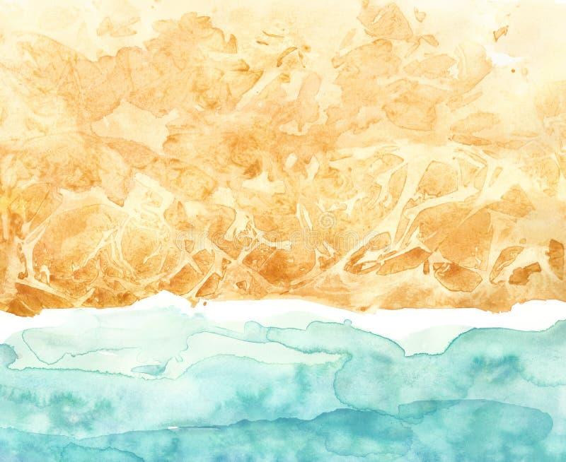 Τοπ θάλασσα άποψης, υπόβαθρο κυματωγών Χρωματισμένες παραλία Watercolor χέρι και απεικόνιση τοπίων παραλιών Θερινή τυπωμένη ύλη ελεύθερη απεικόνιση δικαιώματος