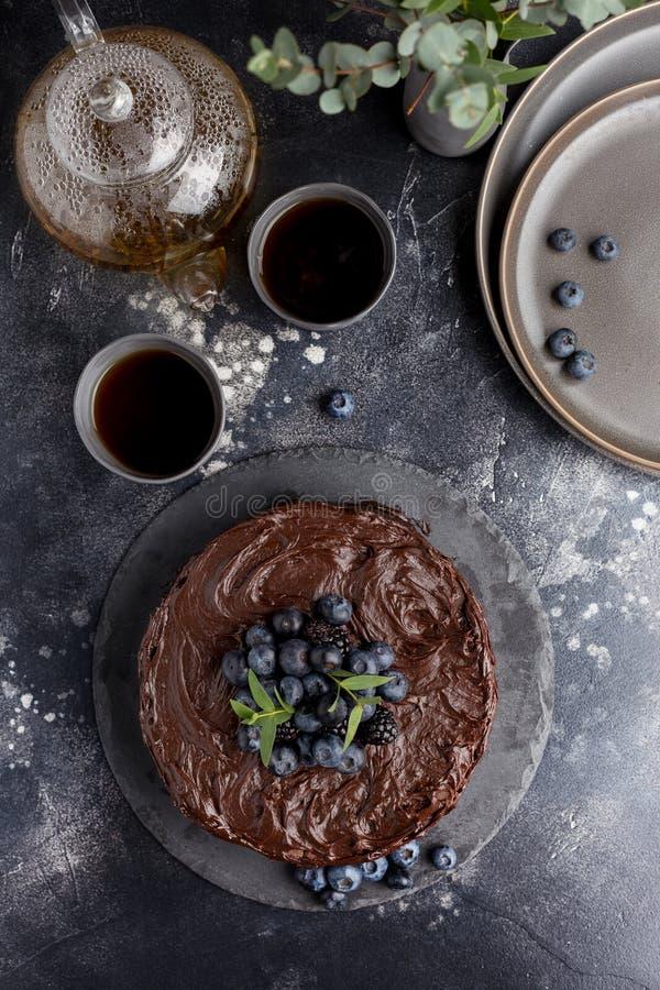Τοπ κέικ σοκολάτας διακοπών άποψης στοκ φωτογραφία