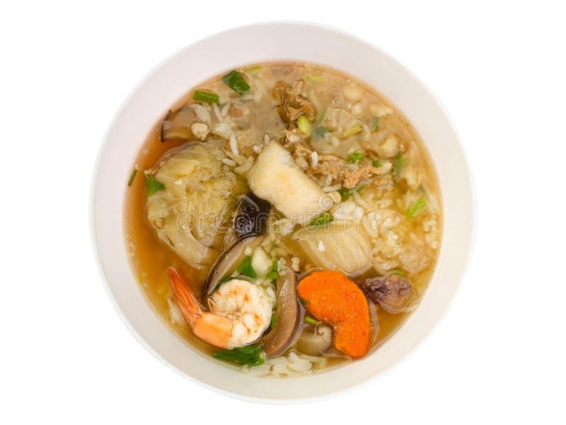 Τοπ κουάκερ γαρίδων εικόνας άποψης, ταϊλανδικό ρύζι στοκ εικόνες με δικαίωμα ελεύθερης χρήσης