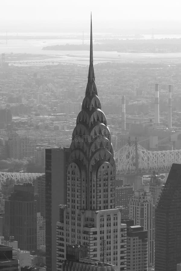 Τοπ λεπτομέρεια κτηρίου Chrysler, εναέρια άποψη σε γραπτό στοκ εικόνες