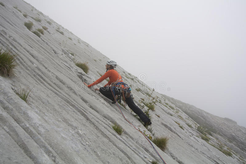 Τοπ ορειβάτης στη δράση στοκ εικόνες