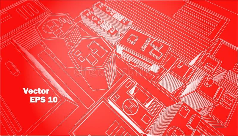 Τοπ περίληψη κεντρικού κόκκινη υποβάθρου πόλεων άποψης άσπρη στοκ εικόνες με δικαίωμα ελεύθερης χρήσης