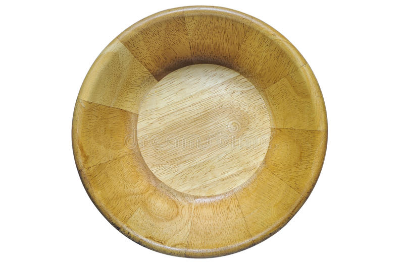 Τοπ πυροβολισμός άποψης του ξύλινου κύπελλου που απομονώνεται στο λευκό στοκ εικόνα με δικαίωμα ελεύθερης χρήσης