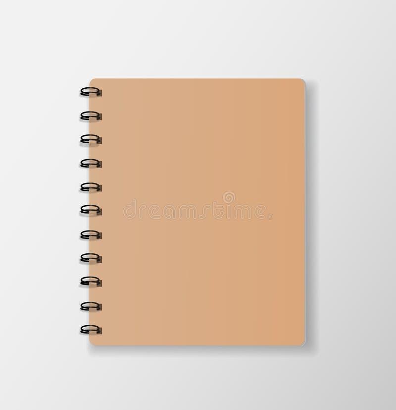 Τοπ σημειωματάριο άποψης στην άσπρη γραφείων κάλυψη εγγράφου υποβάθρου κενή ελεύθερη απεικόνιση δικαιώματος