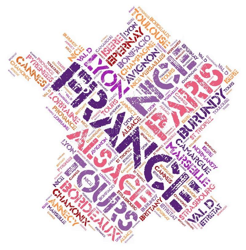 Τοπ σύννεφο λέξης προορισμών ταξιδιού της Γαλλίας στοκ εικόνα