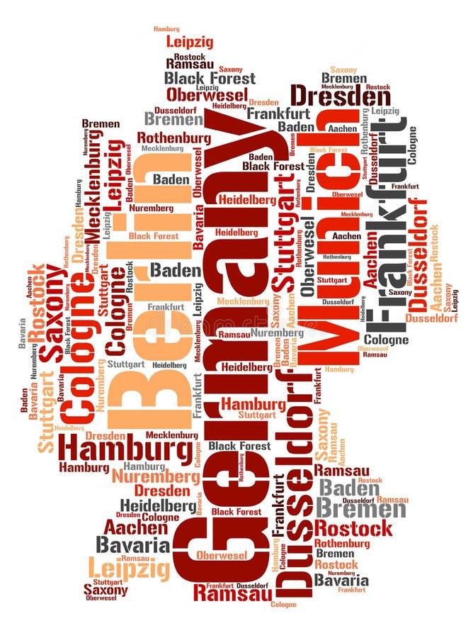 Τοπ σύννεφο λέξης προορισμών ταξιδιού της Γερμανίας διανυσματική απεικόνιση