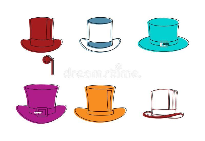 Τοπ σύνολο εικονιδίων καπέλων, ύφος περιλήψεων χρώματος διανυσματική απεικόνιση